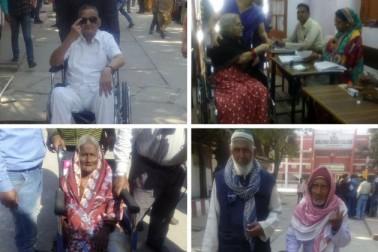 الہ آباد کے مختلف پولنگ مراکز پر وہیل چیئر پر لوگ ووٹ کرتے دکھائی دیے۔