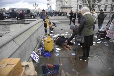 لندن: برطانیہ کی پارلیمنٹ کے نزدیک آج ایک دہشت گردانہ حملے میں ایک خاتون سمیت دو کی موت ہوگئی اور کئی دیگر زخمی ہوگئے۔ میڈیا رپورٹوں کے مطابق پارلیمنٹ کے اندر زوردار دھماکہ کی آواز سنی گئی اور اس کے کچھ دیر بعد پارلیمنٹ کے نزدیک ویسٹ منسٹر پل پر 11 سے زائد لوگ زخمی حالت میں ملے۔