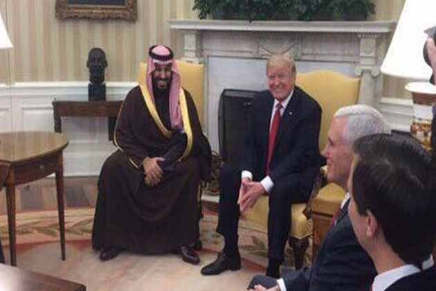 سعودی عرب کے شہزادہ محمد بن سلمان کی امریکی صدر ٹرمپ سے ملاقات ، شام میں جاری جنگ پر گفتگو