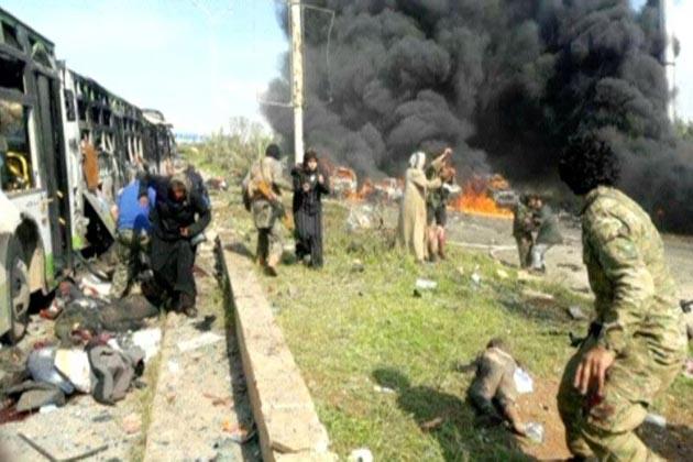 شام میں انخلا کرائے جانے والے لوگوں کے قافلے پرخودکش بم دھماکہ، 40 افراد ہلاک