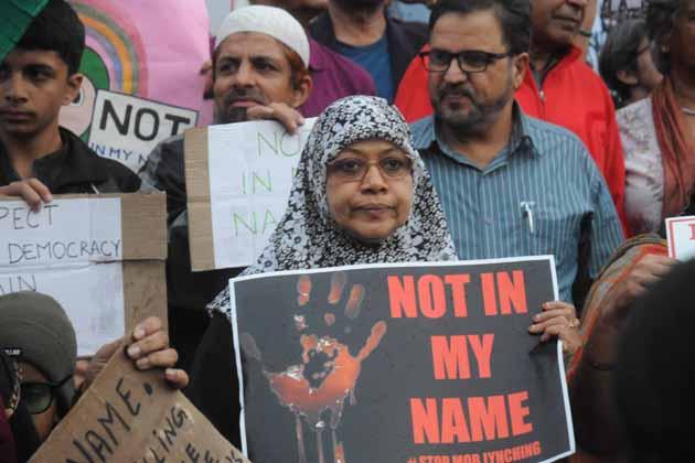 بنگلورو میں احتجاج کا منظر۔