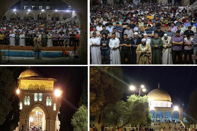 رمضان المبارک کا ماہ مقدس مسلمانوں پر سایہ فگن ہے اور مسلمان عبادتوں میں مصروف ہیں ۔ دنیا بھر کی مساجد میں نماز تراویح ادا کی جارہی ہیں ۔ فلسطین میں واقع مسلمانوں کے مقدس مقام اور قبلہ اول مسجد اقصی میں بھی تراویح کے روح پرور مناظر دیکھنے کو مل رہے ہیں ۔ علاوہ ازیں قبۃ الصخرا کو بھی انتہائی خوبصورتی کے ساتھ سجایا گیا ہے ۔ قبۃ الصخرا بقعہ نور کا منظر پیش کررہا ہے ۔ اگلی سلائیڈ میں دیکھیں مسجد اقصی میں تراویح کے ایمان افروزمناظر اور بقعہ نور میں تبدیل قبۃ الصخرا ۔ (تصاویر : مرکز اطلاعات فلسطین ) ۔