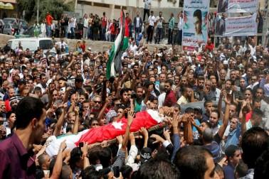 اردن: 16 سالہ بچے کے جنازہ میں شامل ہزاروں لوگوں کا اسرائیل کے خلاف مظاہرہ