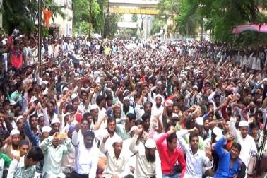 گئو رکشا اور بیف کے نام پر مسلمانوں کے ساتھ ہو رہے ظلم کے خلاف ناندیڑ میںاحتجاجی دھرنا