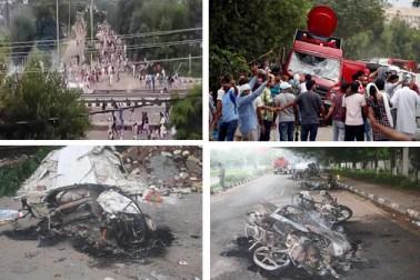 نئی دہلی   :ڈیرہ سچا سودا کے سربراہ گرو رام رحیم کو قصوروار قرار دیا گیا ہے۔ تاہم سزا کا اعلان 28 اگست کو بحث کے بعد کیا جائے گا، لیکن جیسے ہی یہ فیصلہ آیا، رام رحیم کے حامی پر تشدد ہوگئے ہیں۔ تشدد اب تک کئی ریاستوں میں پھیل گئی ہے۔ دہلی ، ہریانہ اور پنجاب سمیت متعدد مقامات پر تشدد کی خبریں ہیں ۔ دہلی میں سات مقامات پر ہنگامہ اور تشدد کی خبر ہے ۔ وہیں ہریانہ اور پنجاب میں بھی حالات خراب ہیں ۔ اب تک 29 افراد کی موت ہوچکی ہے جبکہ 250 سے زائد زخمی ہوئے ہیں ۔ ہریانہ اور پنجاب کے علاوہ دہلی میں متعدد مقامات ، اترپردیش کے نوئیڈا ، غازی آباد ، شاملی سمیت متعدد اضلاع میں دفعہ  144 نافذ کردیا گیا ہے۔ غازی آباد میں ہفتہ کو سبھی اسکول میں چھٹی کا اعلان کیا گیا ہے۔ آگے کی سلائیڈ میں دیکھیں تصاویر کی زبانی تشدد کی کہانی ۔