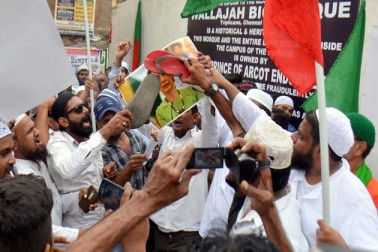 ہندوستان کے چنئی میں روہنگیا مسلمانوں کے قتل عام کے خلاف احتجاج کا ایک منظر ۔