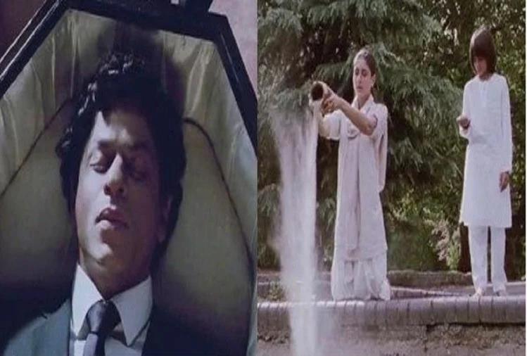 بالی ووڈ کے 'بادشاہ' شاہ رخ خان کی فلم 'را- ون' ، در اصل کردار کے مطابق فلم میں شاہ رخ خان کو مرتے ہوئے دکھایا گیا ہے اور وہ عیسائی مذہب کو ماننے والے دکھائے گئے ہیں۔ تصویر میں دیکھ سکتے ہیں کہ وہ تابت میں لیٹے ہوئے ہیں۔ لیکن غور کرنے والی بات یہ ہے کہ کرینہ کپور فلم میں کس کی استھیاں بہا رہی ہیں۔