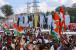 """مدھیہ پردیش میں انتخابی بگل بجانے کے لئے راہل گاندھی کا زبردست روڈ شو، پوسٹروں میں بتایا گیا """"شیوبھکت""""۔"""