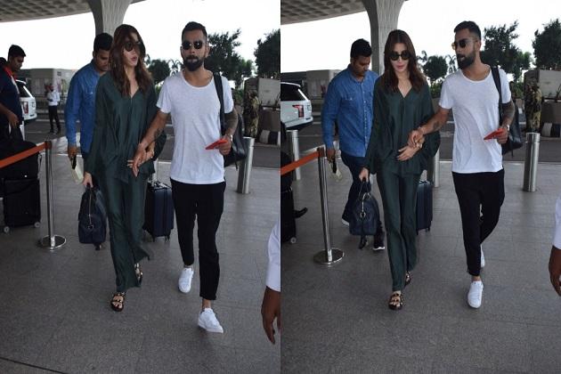 بالی ووڈ اداکارہ انوشکا شرما ممبئی ایئر پورٹ پر شوہر وراٹ کوہلی کے ساتھ ہوئیں اسپاٹ دیکھیں تصویریں