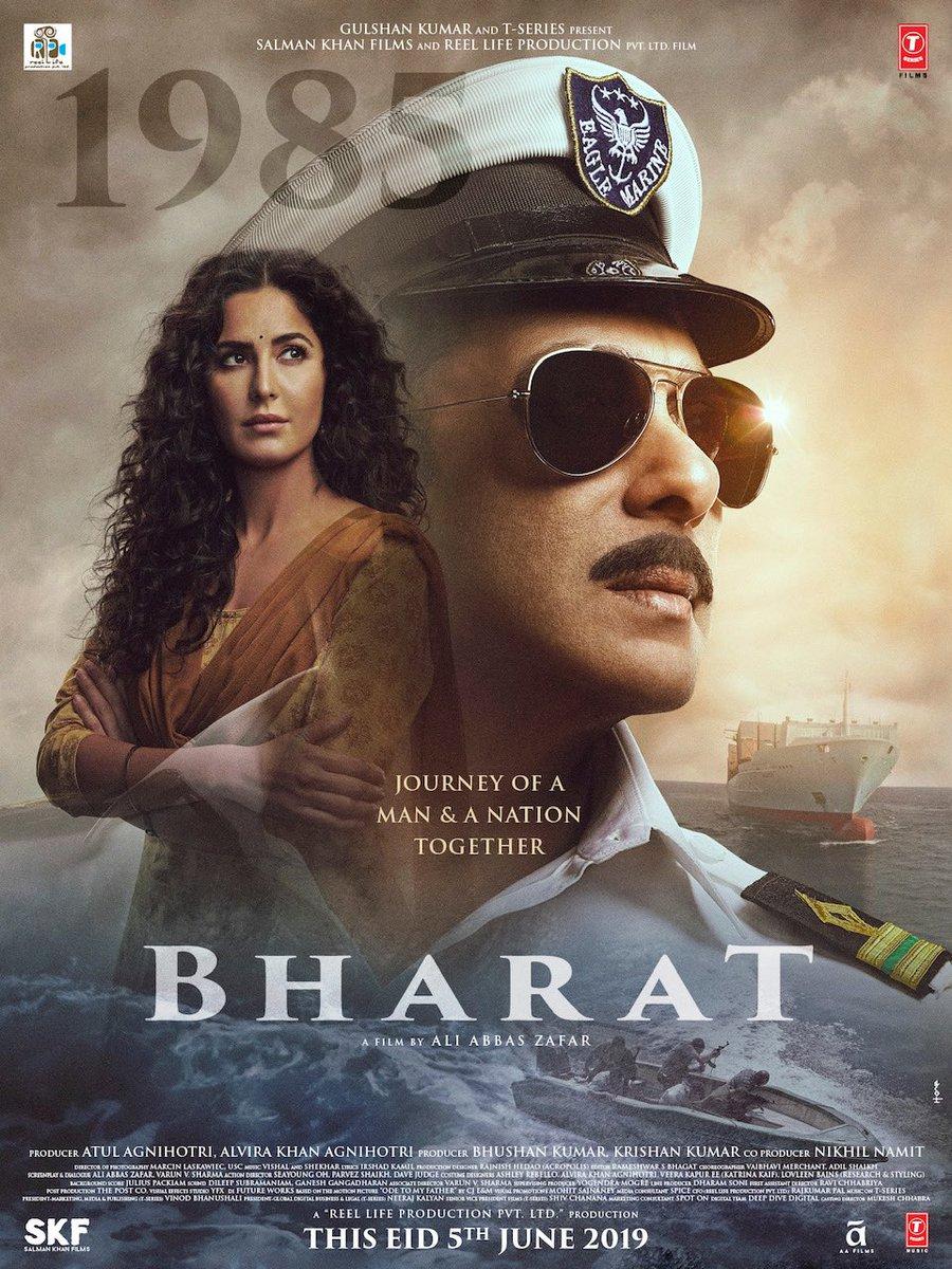 سلمان خان نے جمعرات کو فلم 'بھارت' کا ایک نیا پوسٹر شیئرکیا جوکہ سوشل میڈیا پرتیزی سے وائرل ہورہا ہے۔ اس پوسٹرمیں سلمان خان کےساتھ کیٹرینہ کیف بھی نظرآرہی ہیں۔ سلمان نیوی کی ڈریس میں نظرآرہے ہیں۔