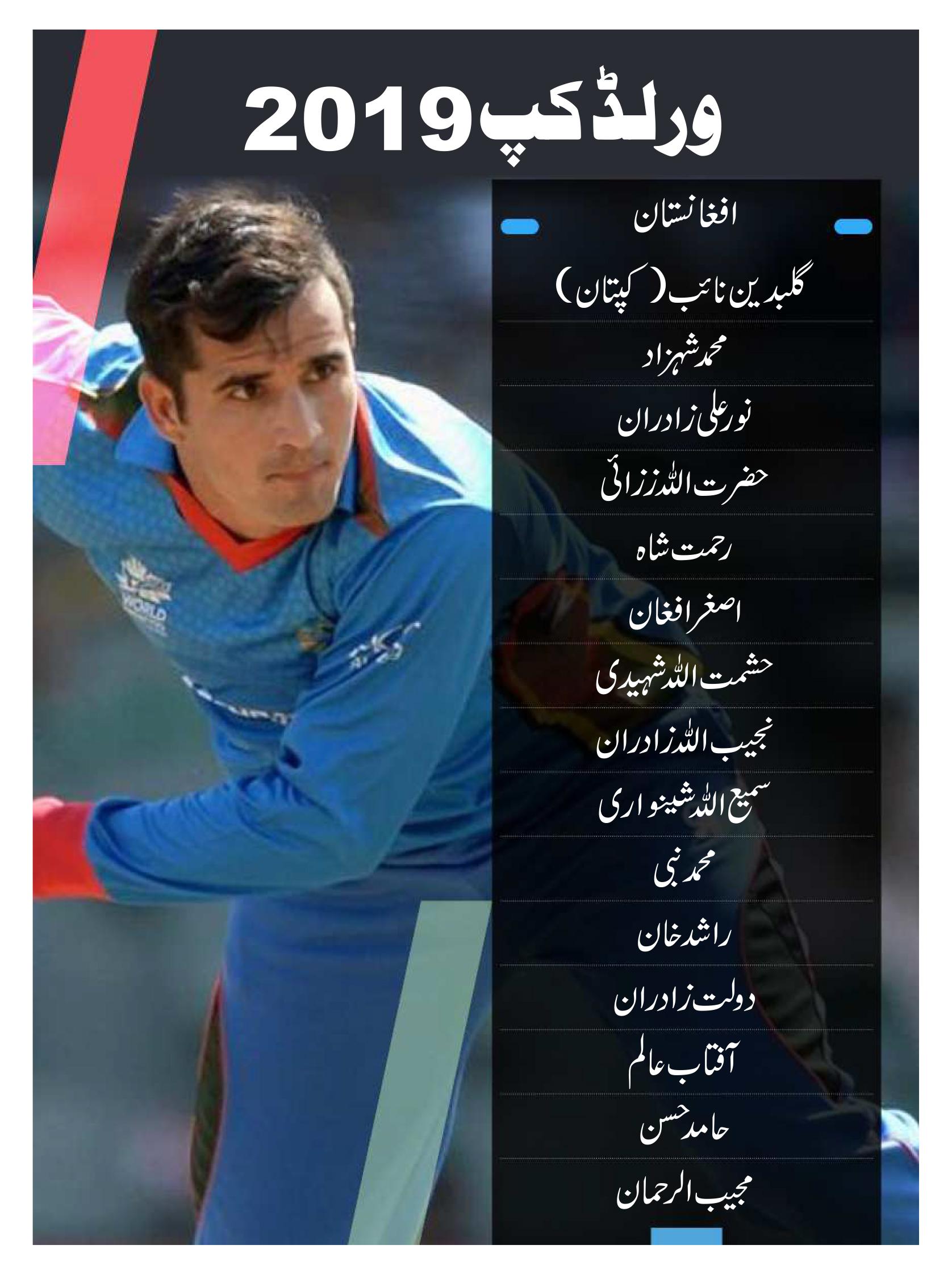 افغانستان کی ٹیم دوسری مرتبہ ورلڈ کپ کھیلنے کیلئے میدان میں اترے گی ۔ پہلی مرتبہ 2015 میں ورلڈ کپ میں اترنے والی یہ ٹیم اس مرتبہ نئے کپتان کے ساتھ میدان میں ہے ۔ اس ٹیم میں کچھ ایسے کھلاڑی ہیں جو کبھی بھی الٹ پھیر کرسکتے ہیں ۔