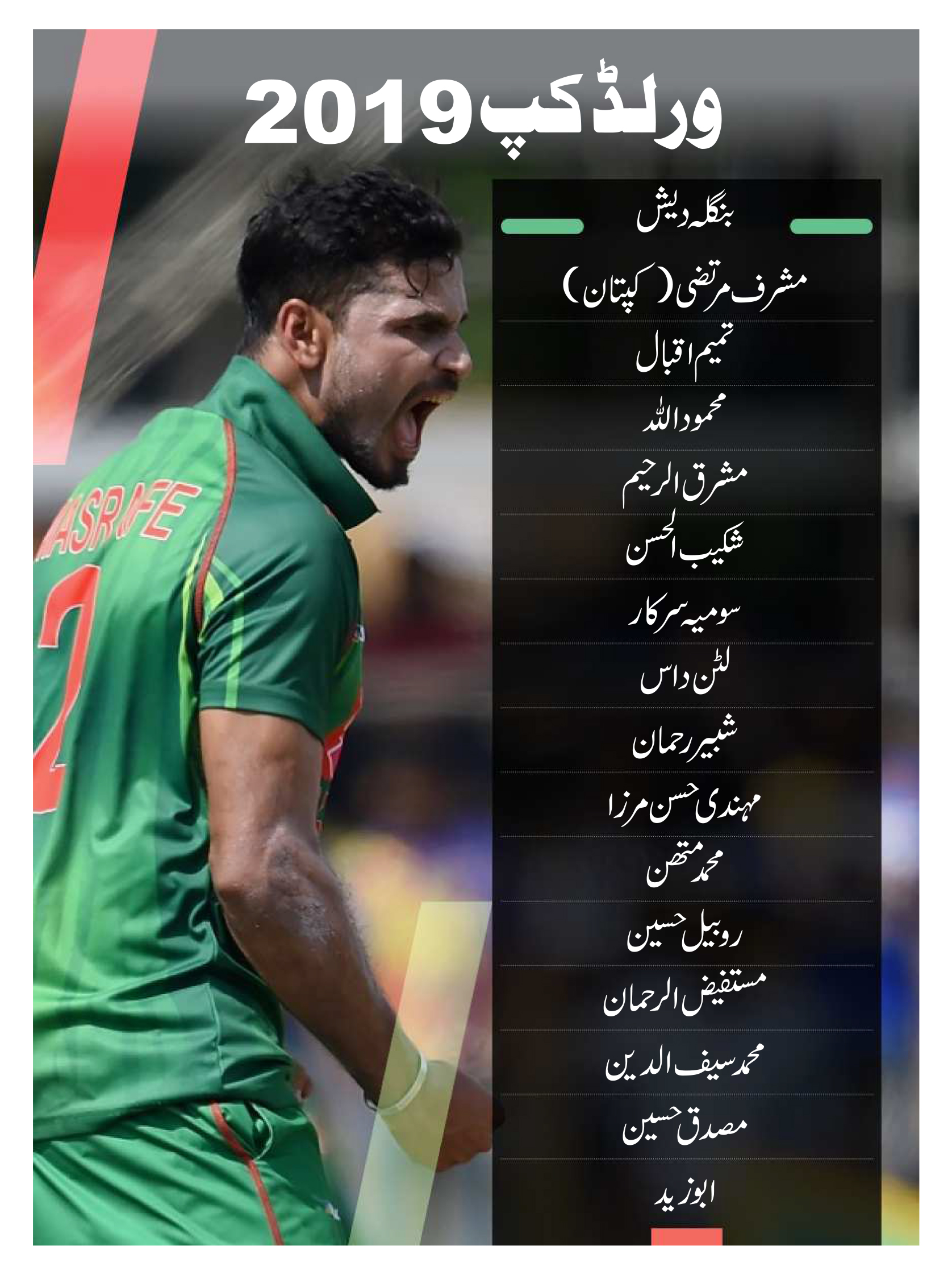 بنگلہ دیش کی مضبوط ٹیم ورلڈ کپ میں کوئی بھی بڑا الٹ پھیر کرسکتی ہے ۔ اس ٹیم نے 2015 کے ورلڈ کپ میں کافی اچھی کارکردگی کا مظاہرہ کیا تھا ۔